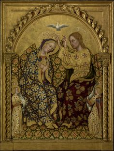 femme-de-lettres:  Large (Getty Open Content)Gentile da Fabriano painted Coronation of the Virgin about 1420.The sumptuous scene depicts not only Christ placing a crown on the Virgin's head as the Holy Ghost surveys the scene, but six angels reading music from long scrolling sheets. The rich textiles of the scene are picked out not only in paint, but in tooling in the giltwork itself—patterns punched into the surface of the work.The result is a sumptuous and detailed scene, as far from the…