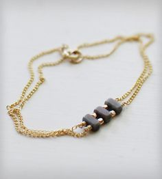 Double-Strand Bracelet with Gold & Blue Beads - want to try making this