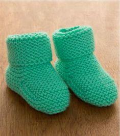 Minty Garter Stitch Baby Booties