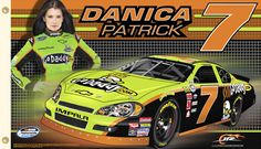 Danica Patrick took the IndyCar world by storm, and now she's set her sights on the NASCAR Nationwide Series. Let everyone know whose corner you're in by displaying this two-sided flag Nascar Flags, Sports Flags, Nascar Race Cars, Indy Cars, Jr Motorsports, Flags For Sale, Danica Patrick, Free Logo, Chevrolet Impala