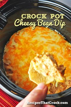 Crock Pot Cheesy Bean Dip #SlowCooker #CrockPot