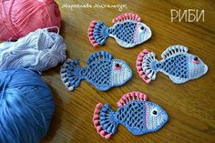Aplique de Peixes em Crochê - /  Apply at Fishs upon Crocheting -                                                                                                                                                     Mais