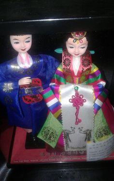 Asian Bride & Groom Dolls in case, Lee Jae Man, Mayor of Dong 2008.8.5 Rare