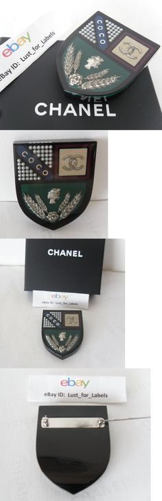 Pins and Brooches 50677: Chanel Coco Pearls Cc Shield Crest Wheat Cameo Flower Resin Brooch Pin Rare New BUY IT NOW ONLY: $675.0
