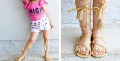 Gold Gladiators sandals are cute and fit perfectly for any occasion. A must have pair for every little fashionista