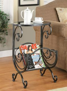 Accent Side Table w Magazine Rack