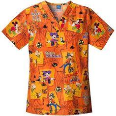 Disney Mickey Halloween V-Neck Scrub Top Mickey Halloween, Medical Scrubs, Scrub Tops, Disney Mickey, Work Wear, Caregiver, Men Casual, V Neck, Nursing