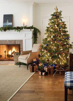 Navy #christmas tree with lights and fireplace | via @lights4fun