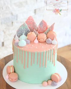 A pretty drip cake for a pretty little girls birthday over the weekend 🎉 Topped with homemade macarons, meringues and chocolate bark 14th Birthday Cakes, Bithday Cake, Birthday Cakes For Teens, Little Girl Birthday Cakes, Little Girl Cakes, Pretty Birthday Cakes, Geek Birthday, Birthday Ideas, Chocolate Hazelnut Cake