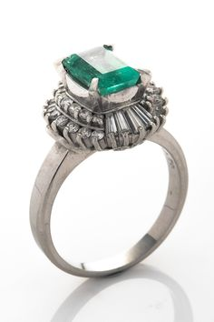 Vintage  Platinum Emerald & Diamond Ring  ~ Now that is my idea of an engagement ring, have always wanted an antique or estate emerald.