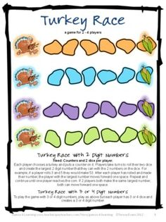 Turkey Math Game FREEBIE by Games 4 Learning - Children race the turkeys to the corn as they compare numbers.