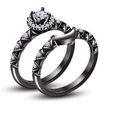 4-Prong Settting White Round Cut D/VVS1 Diamond Women's Dual Ring Set 1.00 CT    #aonejewels