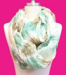 The perfect summer scarf!! Mint and Tan Tie Dye pattern @ www.runwayomaha.com