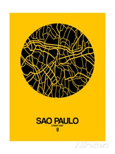 Sao Paulo Street Map Yellow Posters por NaxArt na AllPosters.com.br
