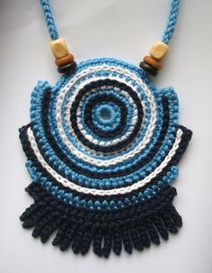 Crochet cotton thread geometric necklace with wooden beads OOAK cn0010