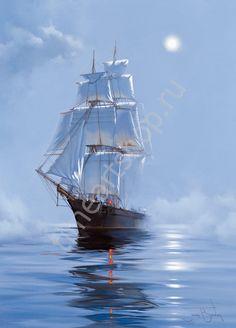Парусник в утренней дымке, картина раскраска по номерам своими руками, размер 40*50 см, цена 750 руб