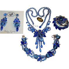 Offered by Ruby Lane Shop The Vintage Carousel Vintage Juliana Blue White Chalk Rhinestone Grand Parure with Tags