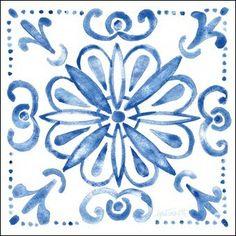 Anne Tavoletti Premium Thick-Wrap Canvas Wall Art Print entitled Tile Stencil IV Blue, None Art Bleu, Art Populaire, Blue Canvas, Canvas Size, Art Graphique, Showcase Design, Blue Art, Tile Patterns, Print Format