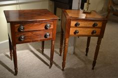 Sheraton New England stands, circa 1810-20's. Left, Mahogany and well grained veneers with moulded edge top. Graduated drawers are above rope legs with original castors. $580. Right, Mahogany with extensive birdseye maple with graduated drawers and rope legs.$945.