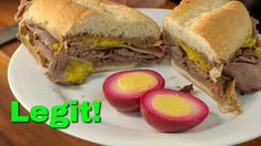 The French Dip sandwich was invented at LA's Philippe The Original deli back in 1918, by accident! In this video I'll show you how to BBQ-roast a 9 pound beef shoulder, then make a very close copy of this amazing sandwich, including their spicy mustard and beet juice pickled eggs! French Dip Recipes, Bbq Roast, Deli, Sandwiches, 82nd Airborne Division, Pickled Eggs, Green Beret, Beef Steak, Barbecue Recipes