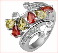 Gorgeous white gold ring with authentic Austrian crystals & red & yellow topaz. Lovely piece of jewelry. Nice gift for upcoming Mother's Day. Yellow Diamond Rings, White Gold Rings, Fashion Rings, Fashion Jewelry, Women's Fashion, Mothers Day Rings, Swarovski Ring, Topaz Jewelry, Gold Plated Rings