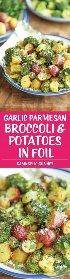 I would love to make and EAT these tonight!  Garlic Parmesan Broccoli and Potatoes in Foil - The easiest, flavor-packed side dish EVER! Wrap everything in foil, toss in your seasonings and you're set!