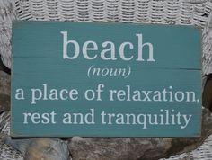 Beach Decor, Beach Sign, Beach House, Hand Painted Reclaimed Wood, Teal by…