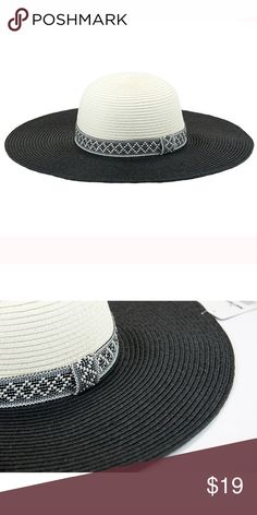 New women's aztec pattern band floppy hat Paper straw 2 tone floppy hat with aztec pattern band. 4.5 inch brim one size fits most women (head circumference is about 57cm) The Hatter Company Accessories Hats