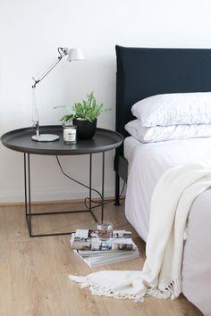 norr11 duke bedsidetable design scandinavian ocasional table black styling myhome artemide lamp tolomeo bedroom by Kasia Pohl