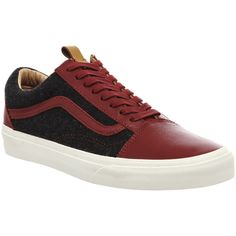 Vans California Old Skool Reissue Ca ($42) ❤ liked on Polyvore featuring men's fashion, men's shoes, men's sneakers, biking red black wool, his trainers, shoes and trainers