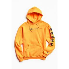 Champion Repeat Eco Hoodie Sweatshirt ($64) ❤ liked on Polyvore featuring tops, hoodies, champion pullover, pullover hoodies, yellow hooded sweatshirt, logo hoodie and sweatshirt hoodies
