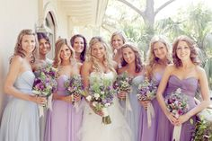 There's something I like about this mix of lavender, purple, and light blue for the bridesmaid dresses.