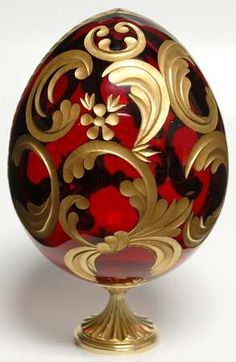 """FABERGE CRYSTAL EGG, CUT, GOLD TRIM  """"Alexandria Crystal Egg""""  replacements.com"""