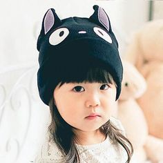 e9365cc57fb Black cat beanie hats with ears for kids funny animal knit hat