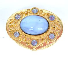 Florenza Gold Pill Box | Vintage Mosaic Cabochon Blue Rhinestones Pill Box | Florenza NYC Pill Box | Decor Pill Box | Gold Trinket Box #emclassydesigns #etsy #gifts #vintagecollectibles #jewelry #vintagejewelry