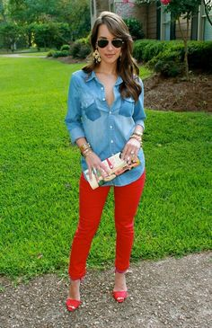 chambray on red