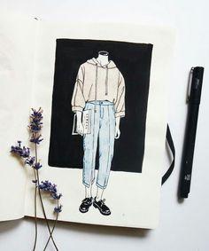 Beautiful illustration by ig myownocean beauti Sketchbook Inspiration, Art Sketchbook, Art Sketches, Art Drawings, Kawaii Pens, Aesthetic Art, Art Tutorials, Art Inspo, Painting & Drawing