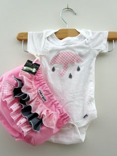 Onesie - ruffle diaper covers gift set - Lovely Showers Pink - Baby - Girl. $23.50, via Etsy.