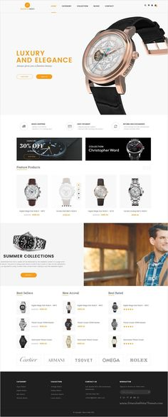 ST Watch is an advanced #Photoshop #template for online luxury #watch shop eCommerce website with 6 multipurpose homepage layouts download now➩ https://themeforest.net/item/st-luxury-watch-psd-template/17510346?ref=Datasata