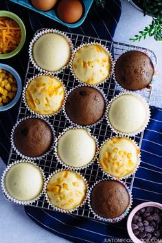 Making these soft, light, spongy Japanese Steamed Cake (Mushi-pan) is surprisingly easy. You can enjoy them as a healthy Muffin Recipes, Baking Recipes, Breakfast Recipes, Dessert Recipes, Healthy Recipes, Breakfast Ideas, Breakfast Muffins, Baking Ideas, Breakfast Cake