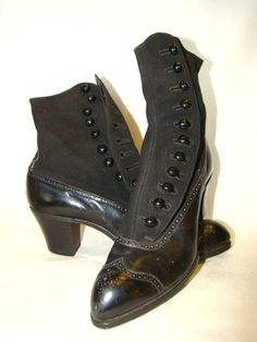 Antique Womens Canvas & LEATHER Spat, Hi-Top SIDE BUTTON SHOES BOOTS, Red Cross | eBay