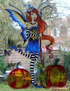 WICOART STICKER WINDOW COLOR CLING FAUX STAINED GLASS HALLOWEEN WITCH FAERY FAE