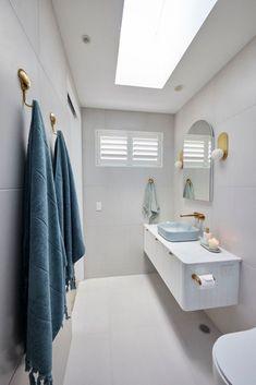 Blue and white bathroom on The Block 2021 Bathroom Windows, Bathroom Floor Tiles, Bathroom Layout, Bathroom Interior Design, Classic Bathroom, White Bathroom, Small Bathroom, Timber Vanity, Toilet Suites
