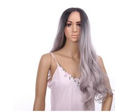 Manufacturers wholesale spot hot style in Europe and America before long curly lace grandma grey gradient wig caps