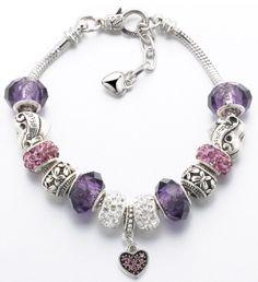 Silver Color Charm Glass Bracelet