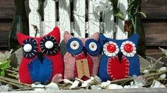 Primitive Hoot Owl Trio Patriotic USA July 4th Memorial Day Primitive Pillows, Bowl Fillers, July 4th, 4th Of July Wreath, Memorial Day, Usa, Create, Unique Jewelry, Handmade Gifts