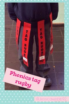 Phonics tag rugby! Differentiated by colour, children steal other children's tags but have to read the words stuck on the tags before putting them onto their belts.