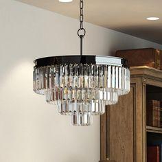 4 Tier Black Nickel Chrome Odeon clear crystal glass prism chandelier lighting