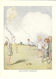 Vintage 1926 Children's Print By Honor C. Appleton Schoolchildren  Flying Kite School Uniform Gymslip Blazer Book Plate Book Illustration