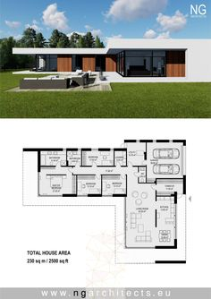 modern villa Laguna designed by NG architects www. House Layout Plans, Dream House Plans, Modern House Plans, House Layouts, Modern House Design, One Floor House Plans, L Shaped House Plans, Staircase Contemporary, Contemporary Bedroom